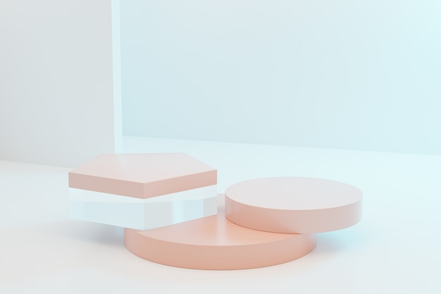 Podi o piedistalli beige per prodotti su sfondo blu pastello, rendering minimo di illustrazione 3d