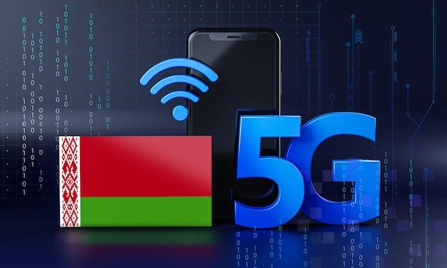 Bielorussia pronta per il concetto di connessione 5g. sfondo di tecnologia smartphone rendering 3d