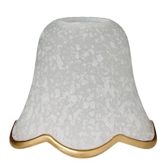 Paralume a campana in vetro smerigliato maculato bianco con bordo dorato per una lampada elettrica