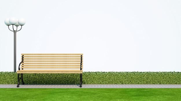 Bench in parco con fondo bianco - rappresentazione 3d