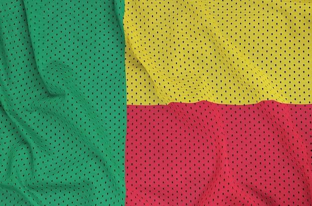 Bandiera del benin stampata su una rete di nylon poliestere