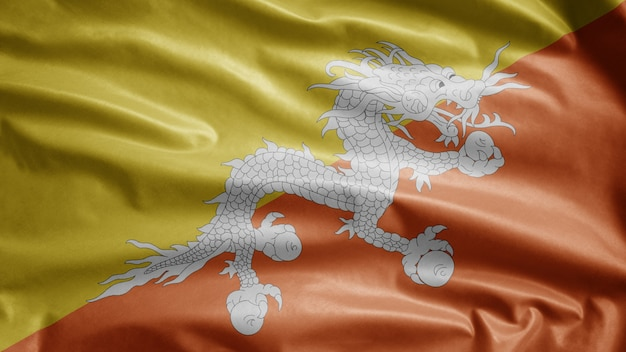 Bhutan sventola bandiera nel vento