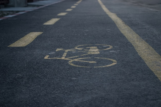 Corsia bicicle nel primo piano