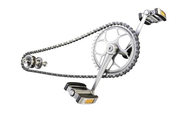 Catena della bicicletta con pedali vicino isolato su sfondo bianco