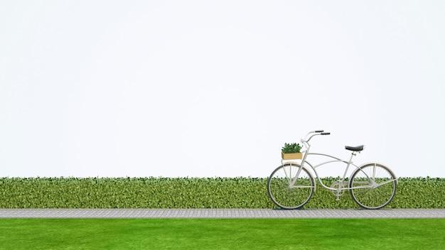 Vada in bicicletta in parco con fondo bianco - rappresentazione 3d