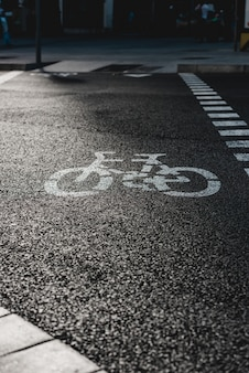 Segnale stradale della bicicletta sulla via