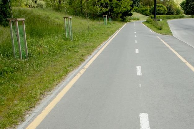 Segni di biciclette sulla pista ciclabile in città.