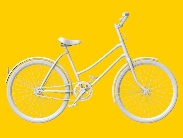 Bicicletta su pastello giallo. rendering 3d.