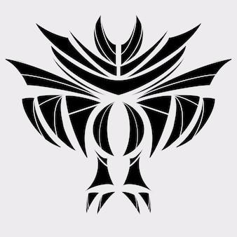Grande uccello o pipistrello tatuaggio tribale colore nero illustrazione grafica, decorazione forma astratta e simbolo