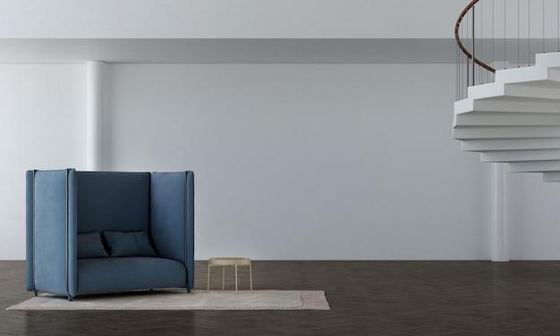 Grande poltrona blu su pavimento in legno e parete bianca elegante con sfondo di scale