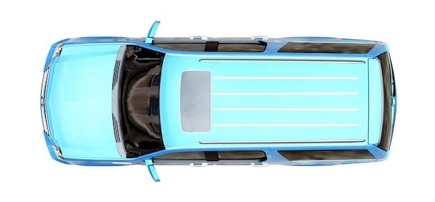 Grande suv premium blu su sfondo bianco. rendering 3d.