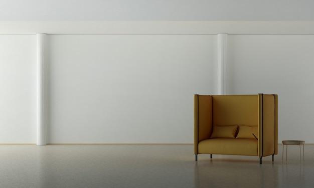 Grandi poltrone marroni sul pavimento di marmo e sullo sfondo bianco elegante della parete