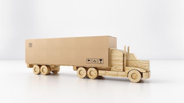Pacchetto grande scatola di cartone su un camion giocattolo di legno pronto per essere consegnato su sfondo bianco