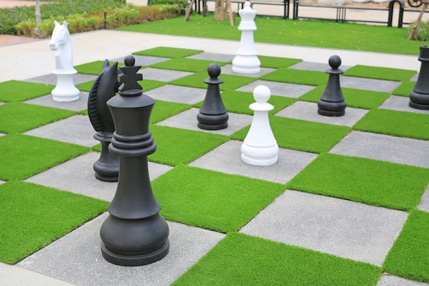 Grande pezzo degli scacchi decorativo in giardino