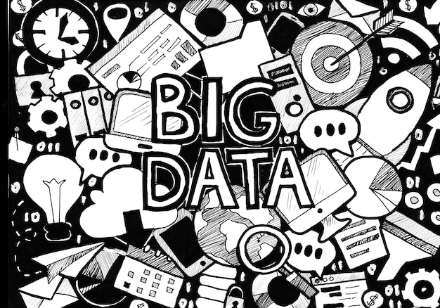 Big data nero bianco. illustrazione del quadro televisivo del concetto di affari. schizzo disegnato a mano.