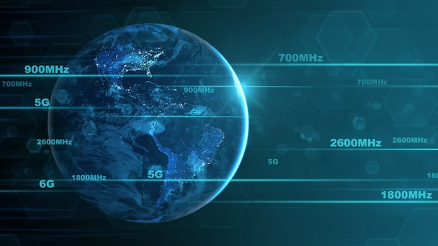 Segnale del telefono cellulare di grandi dimensioni e tecnologia di rete. gli elementi di questa immagine sono forniti dalla nasa.