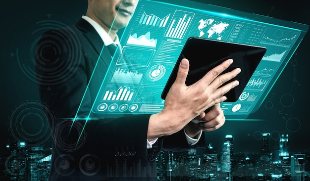 Big data technology per il concetto analitico di finanza aziendale. la moderna interfaccia grafica mostra enormi informazioni sul rapporto di vendita aziendale, sul grafico dei profitti e sull'analisi delle tendenze del mercato azionario sul monitor dello schermo.