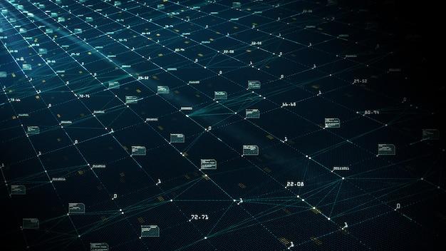 Concetto di visualizzazione di big data. algoritmi di machine learning.