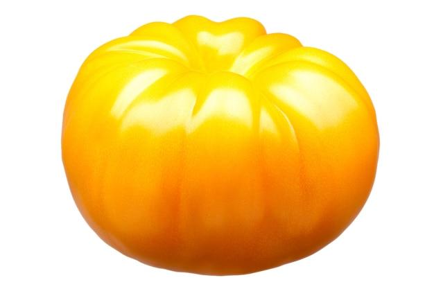 Grande singolo pomodoro giallo delizioso isolato su priorità bassa bianca con il percorso di residuo della potatura meccanica