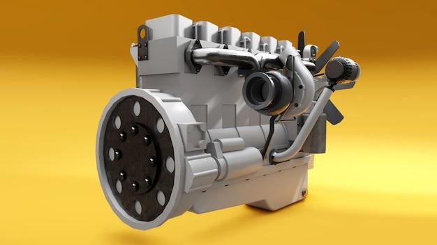 Un grande motore diesel con il camion raffigurato. rendering 3d.