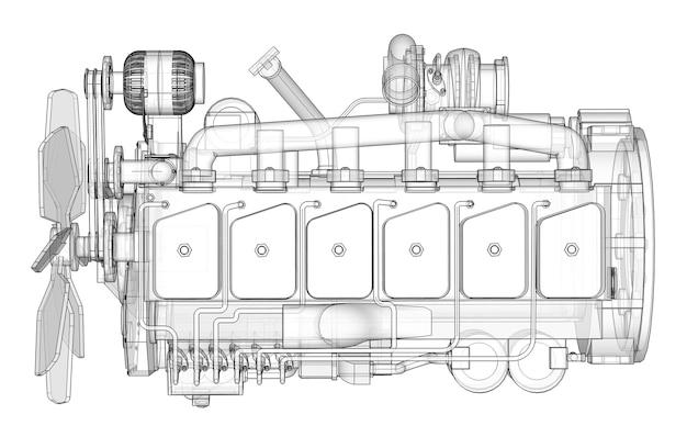 Un grande motore diesel con il camion raffigurato nelle linee di contorno su carta millimetrata. i contorni della linea nera sullo sfondo bianco.