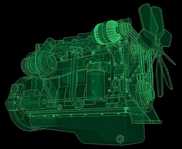 Un grande motore diesel con il camion raffigurato nelle linee di contorno su carta millimetrata. i contorni della linea verde sullo sfondo nero.
