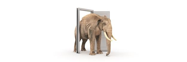 Il grande elefante entra nel rendering 3d della porta aperta