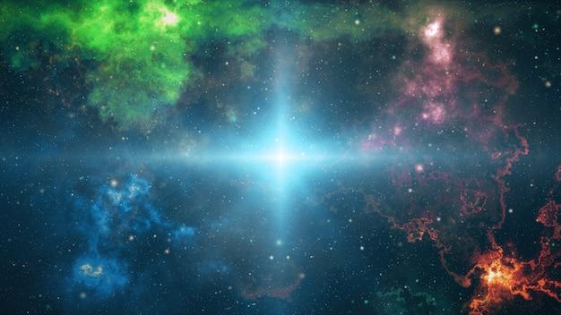 Una grande esplosione nello spazio. le stelle ed i pianeti si sparpagliano nello spazio, la nascita dell'illustrazione dell'universo 3d