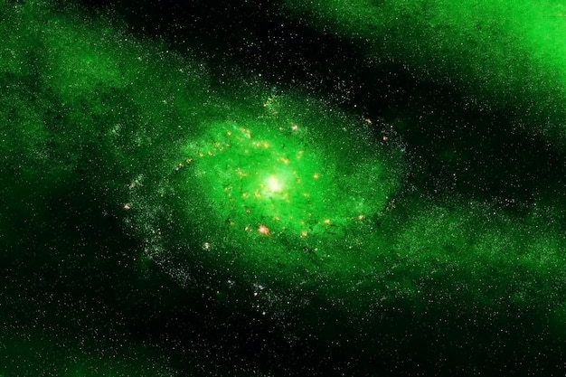 Grande galassia verde. gli elementi di questa immagine sono stati forniti dalla nasa. foto di alta qualità