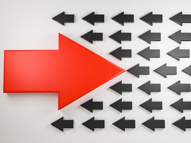 La grande freccia rossa si sposta in direzione opposta con molte frecce nere su sfondo bianco, concetto di interruzione di affari e tecnologia. rendering 3d