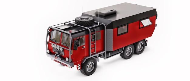 Grande camion rosso preparato per spedizioni lunghe e impegnative in aree remote