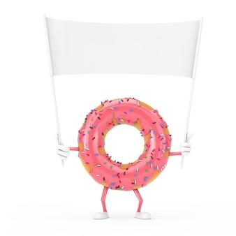 Grande mascotte del carattere della ciambella smaltata rosa fragola e striscione bianco vuoto vuoto con spazio libero per il tuo design su sfondo bianco. rendering 3d