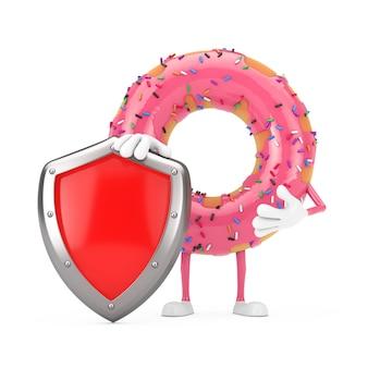 Grande mascotte del carattere della ciambella lustrata rosa fragola con scudo di protezione in metallo rosso su sfondo bianco. rendering 3d