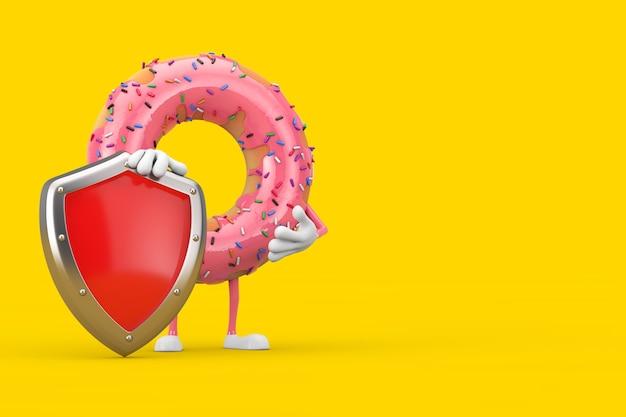 Grande mascotte del personaggio della ciambella smaltata rosa fragola con scudo di protezione in metallo rosso su sfondo giallo. rendering 3d
