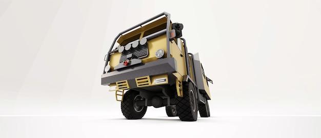 Grande camion preparato per spedizioni lunghe e difficili in aree remote. camion con casa su ruote. illustrazione 3d.