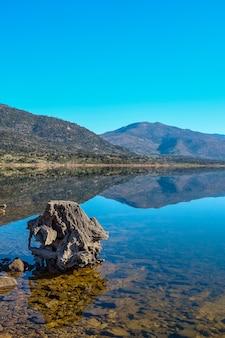 Un grosso tronco di un vecchio albero sulla riva di un lago con acqua calma e riflesso delle montagne sullo sfondo