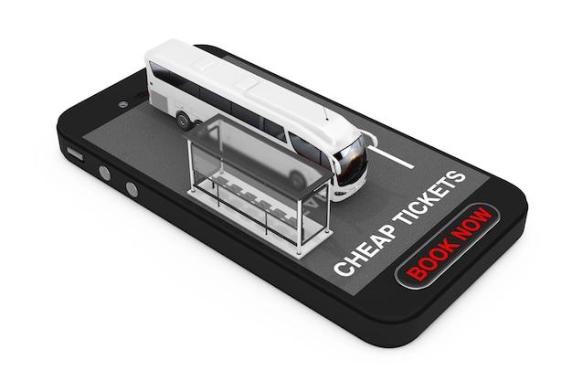 Big white coach tour bus con stazione degli autobus su telefono cellulare con biglietti economici iscriviti e prenota ora pulsante su sfondo bianco. rendering 3d