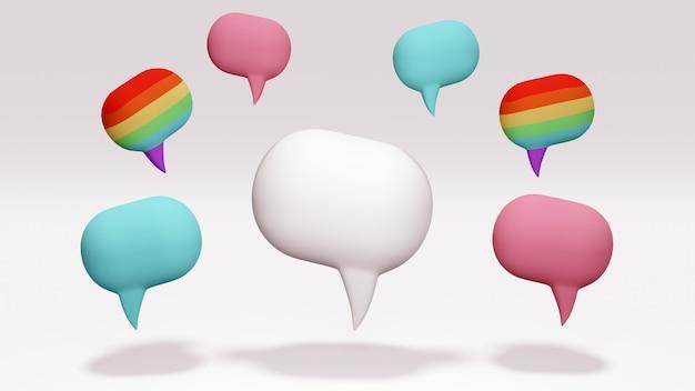 Un grande fumetto bianco con piccoli fumetti nei colori dell'arcobaleno come colore lgbt blu e rosa