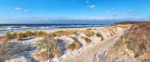 Pista ciclabile sulla spiaggia vicino al villaggio di kloster. parte settentrionale dell'isola hiddensee nella germania settentrionale.
