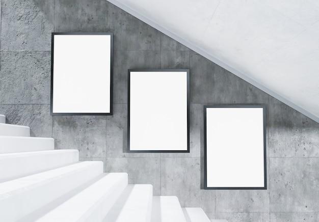 Mock-up di cartelloni pubblicitari sulle scale nella stazione della metropolitana con muro di cemento