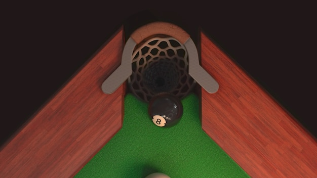 Tavolo da biliardo con palla nera dall'alto