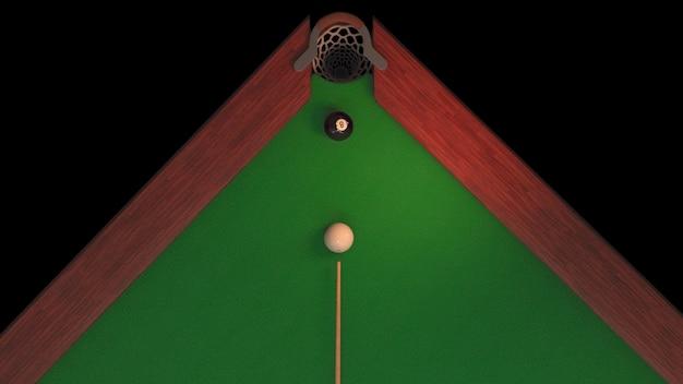 Tavolo da biliardo con palla nera e palla bianca dall'alto