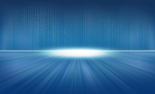 Codice binario che vola su sfondo blu