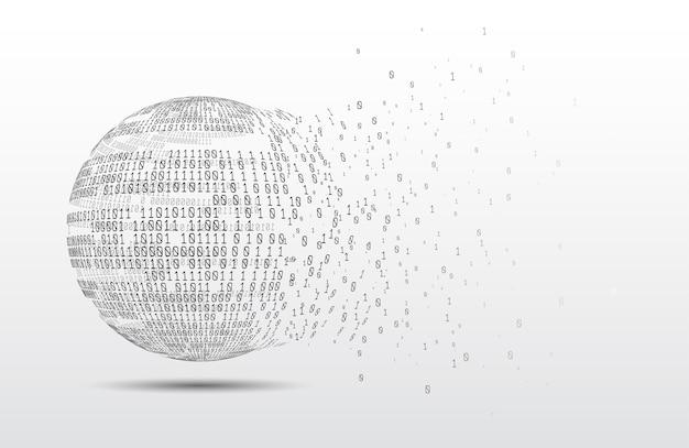 Globo di codice binario. pianeta della tecnologia. grandi dati. rete globale. intelligenza artificiale. dal caos al sistema.