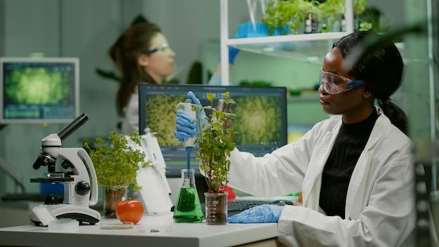 Scienziato biologo che parla di soluzione da un pallone medico che mette su un alberello verde per esperimenti genetici