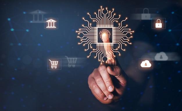 La scansione biometrica delle impronte digitali fornisce sicurezza protezione informatica tecnologia internet sicurezza dei dati