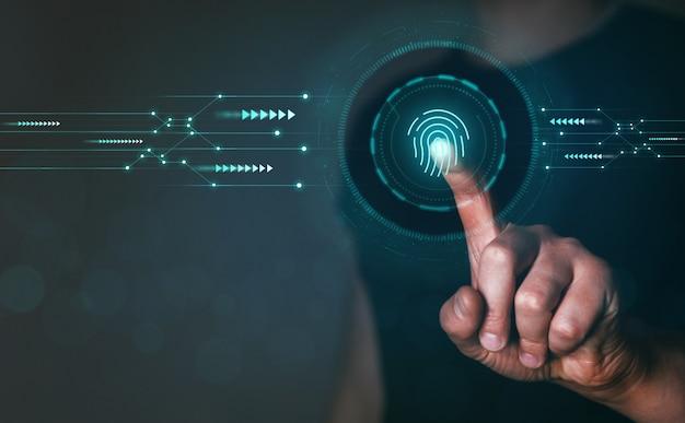 La scansione biometrica delle impronte digitali fornisce sicurezza protezione informatica tecnologia internet