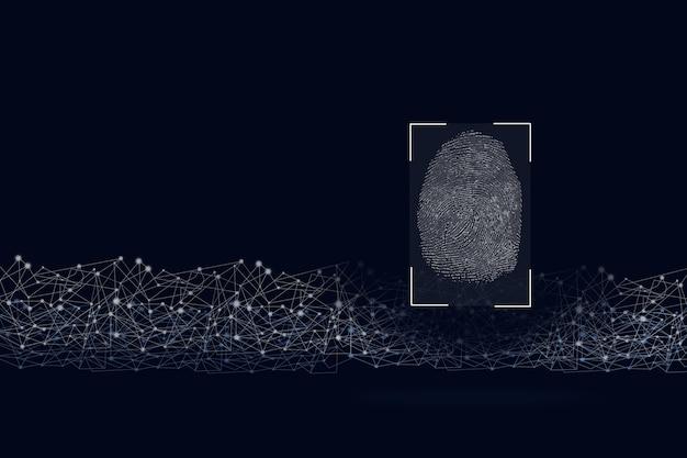 Concetto di identificazione biometrica con impronte digitali. persone di riconoscimento della tecnologia di rilevamento del software