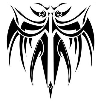 Uccello o insetto tatuaggio tribale illustrazione arte grafica simbolo sfondo, astratto colore nero tatuaggio