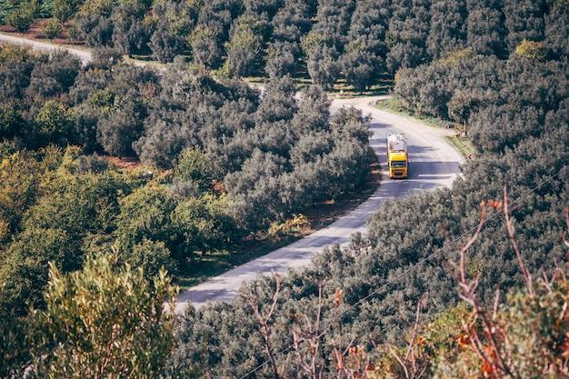 Una vista a volo d'uccello di un camion giallo vicino a campi con alberi